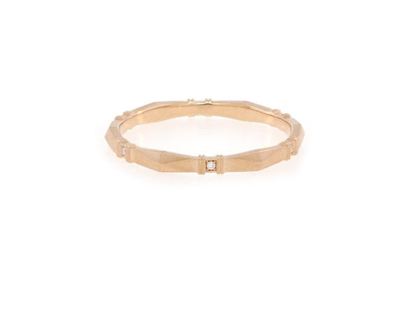 'Viola' Rose Gold and Diamond Geometric Band