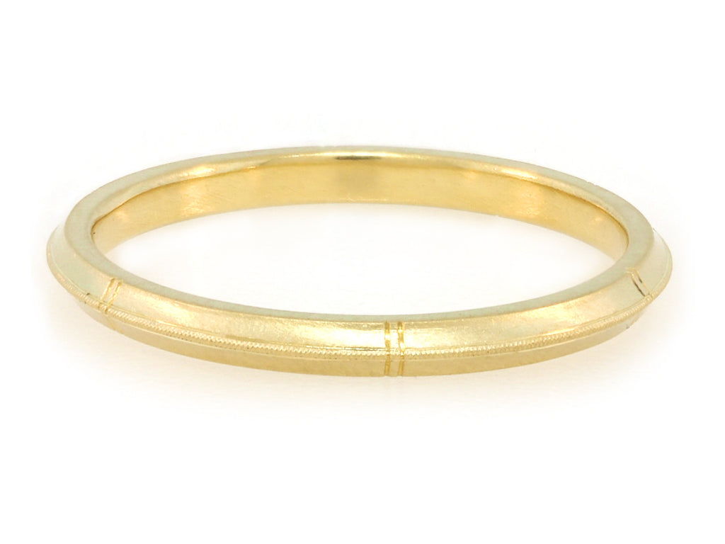 Rose Milgrain Gold Band