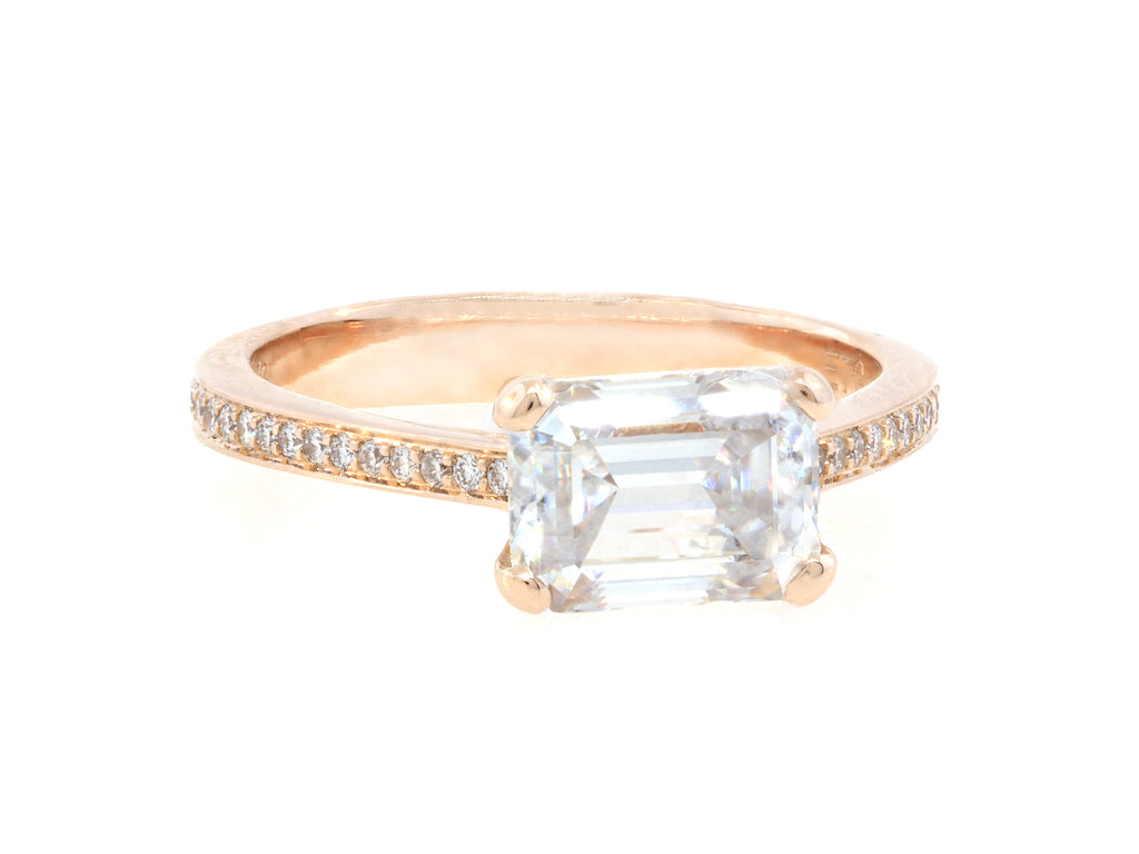 1.70ct Emerald Cut Moissanite Rose Gold Pave Ring