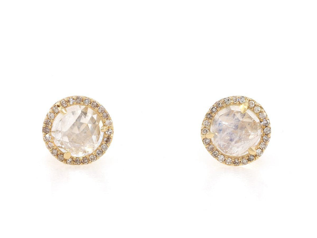 Moonstone Diamond Pave Yellow Gold Earrings
