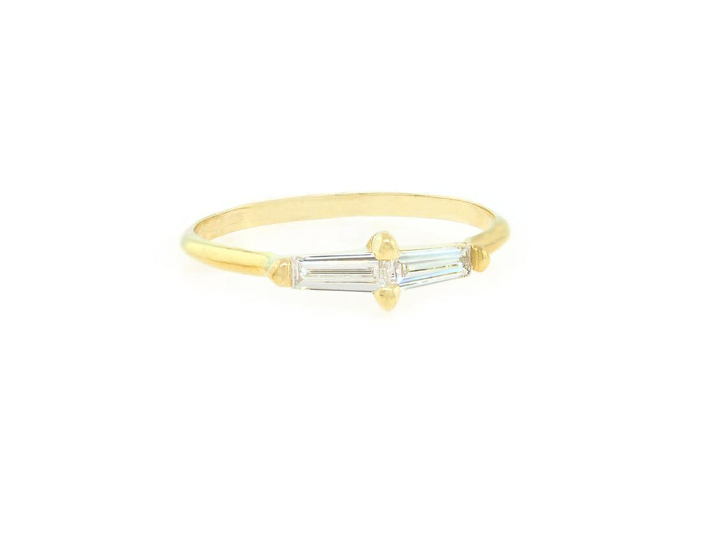 Double Baguette Diamond Gold Ring