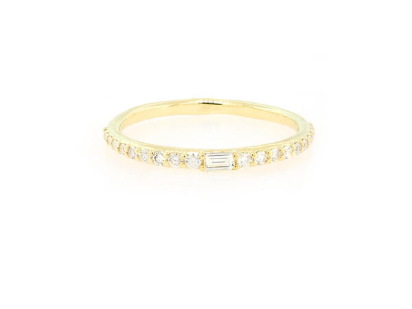 Delicate Pave and Baguette Diamond Gold Band