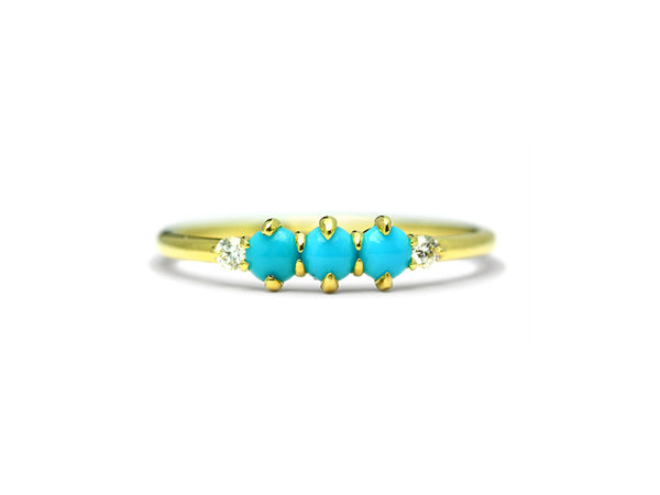 Felicia Triple Turquoise and Diamond Ring