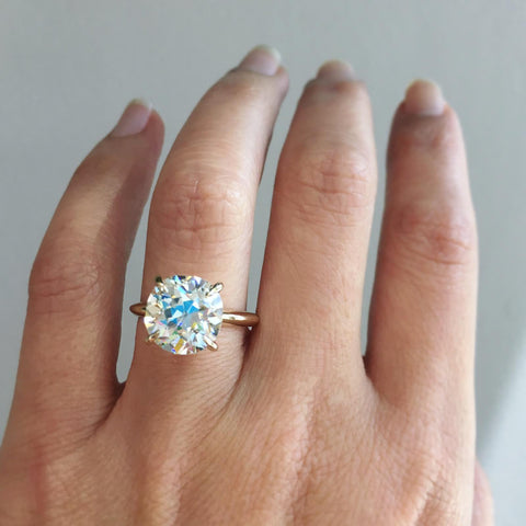 4.48ct European Cut Diamond Orbit Engagement Ring
