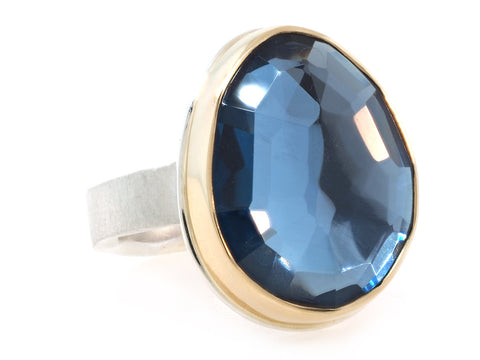 Faceted London Blue Topaz Ring