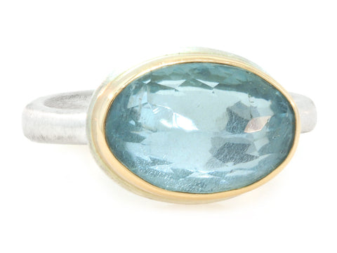 Oval Faceted Aquamarine Ring