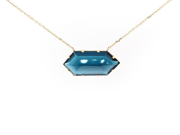 Bullet Cut London Blue Topaz Necklace