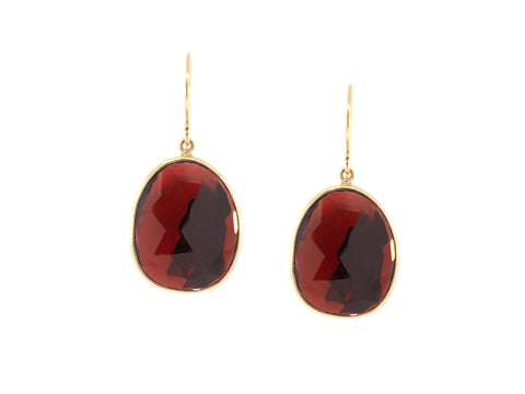 Faceted Garnet Drop Earrings