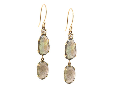 Labradorite and Rose Cut Diamond Drop Earrings