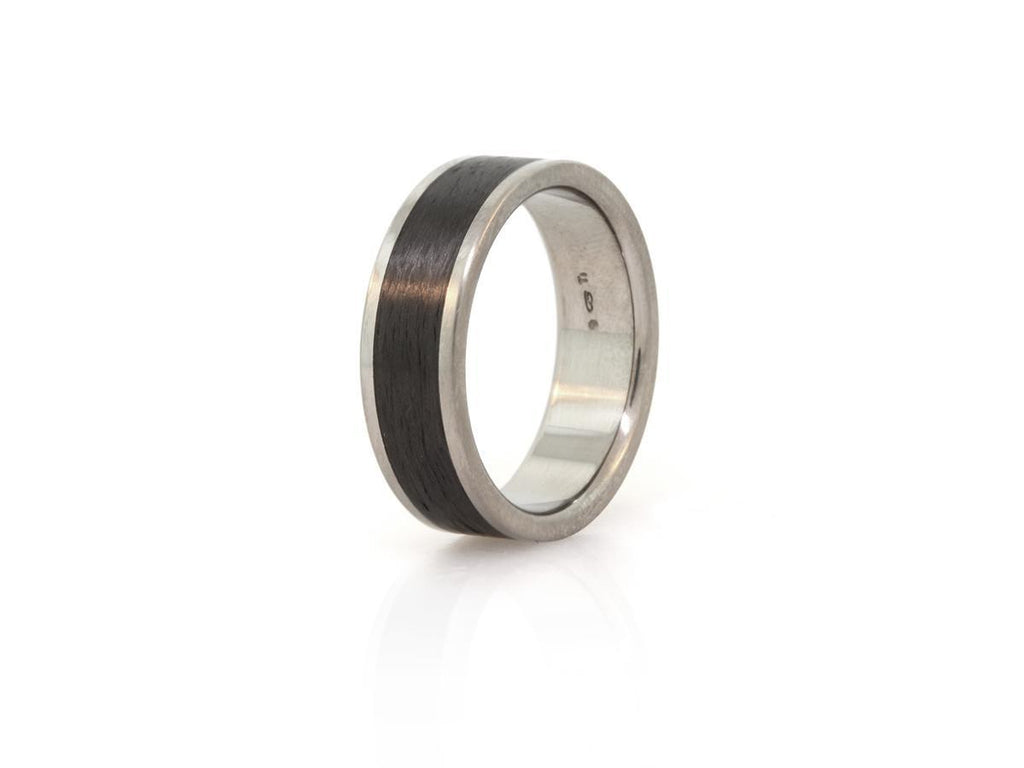 Flat Top Titanium and Carbon Fiber Ring