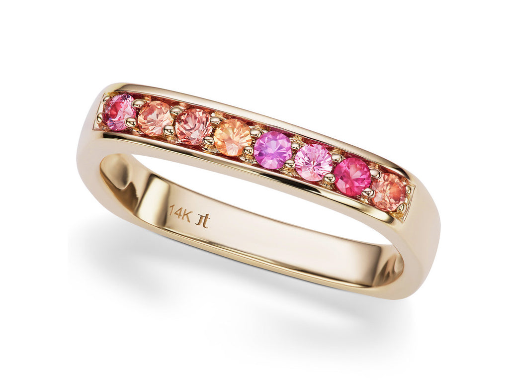 Cirque Square Pink and Orange Round Sapphire Band