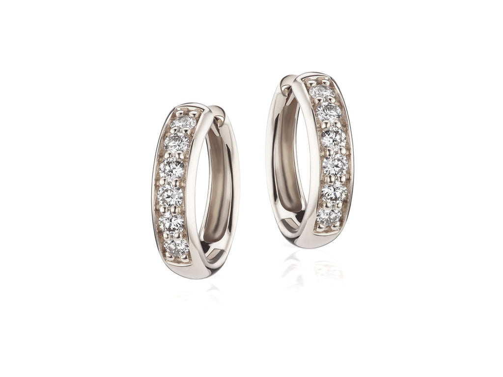 Cirque White Gold Diamond Huggie Hoop Earrings