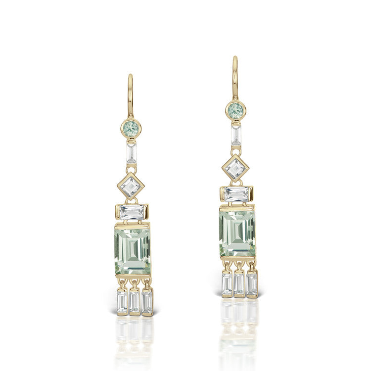 Cirque Tassel Earrings with Green Quartz