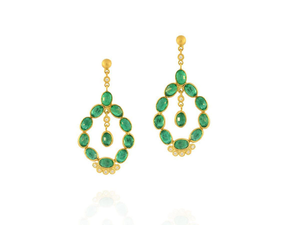 Emerald Cabochon and Diamond Chandelier Earrings