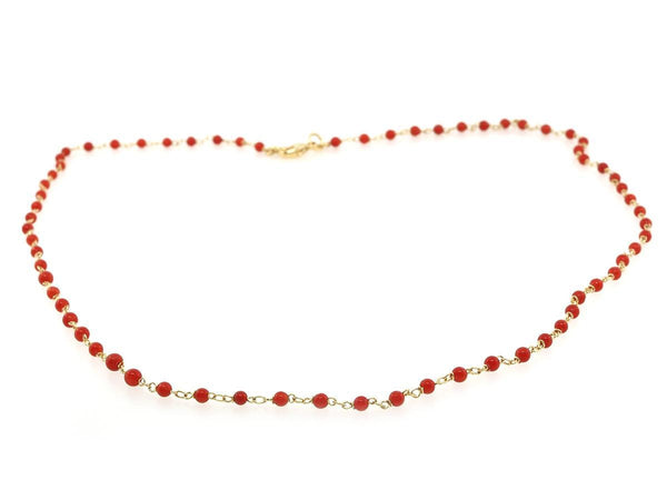 Coral Bead Gold Necklace