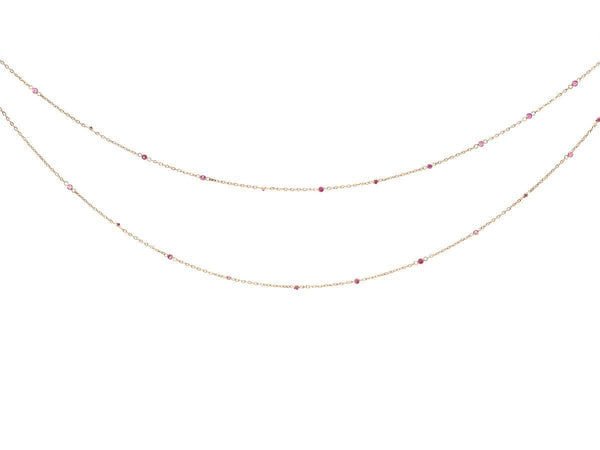 Long Bezel Set Ruby Necklace