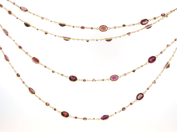 Long Rhodolite Garnet Necklace
