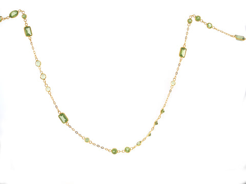 Mixed Cut Peridot Bezel Necklace