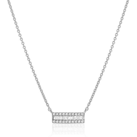Small Channel Baguette Diamond Necklace
