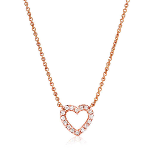 Small Open Heart Diamond Necklace