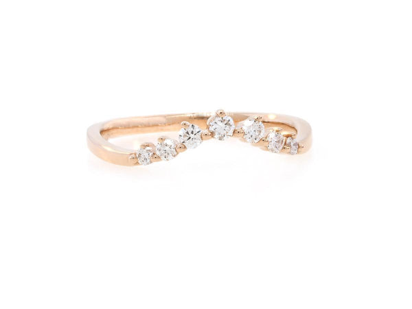 Chevron Diamond Curved Rose Gold Ring