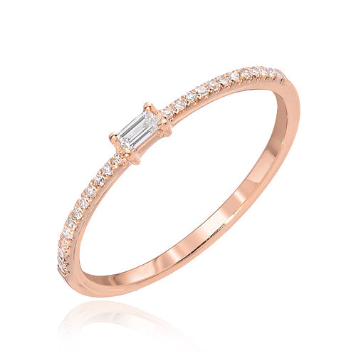 Small Baguette & Pave Diamond Ring