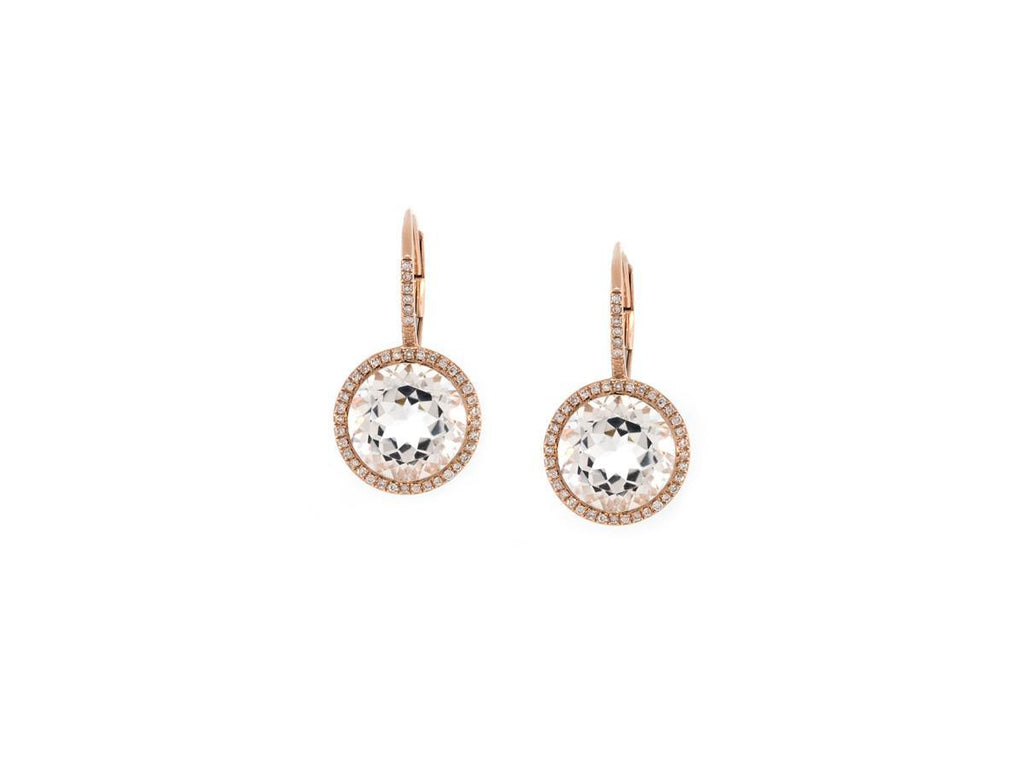 Rose Gold White Topaz Pave Halo Earrings