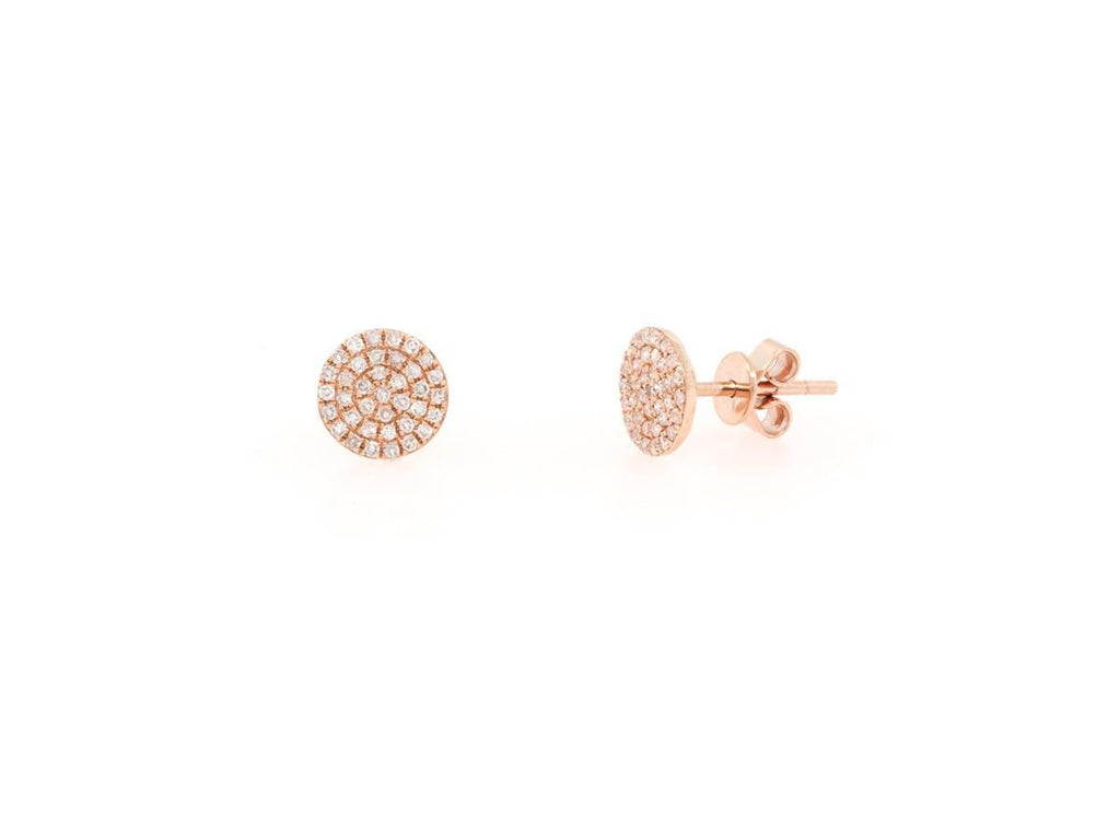 Rose Gold Pave Diamond Disc Stud Earrings