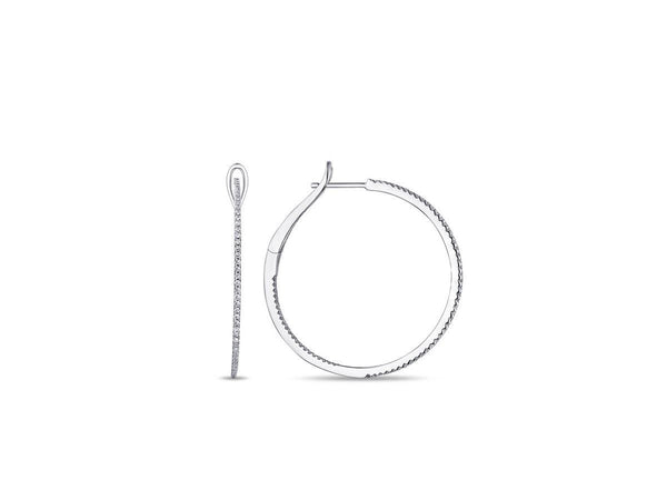 Delicate White Gold Pave Hoop Earrings