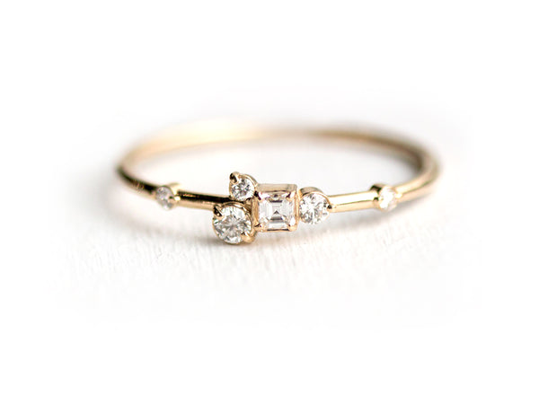 Pinch of Sugar Gold Diamond Cluster Ring