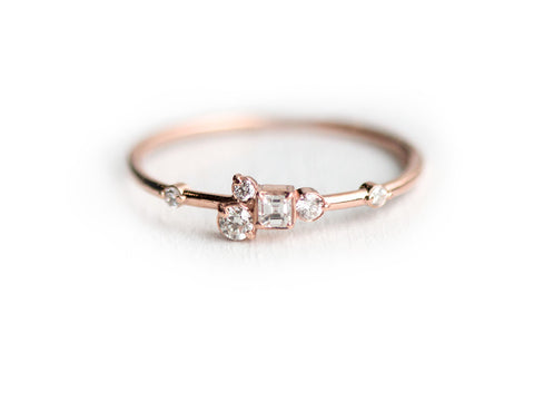 Pinch of Sugar Rose Gold Diamond Cluster Ring