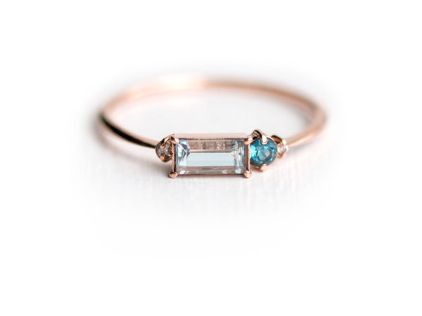 Aquamarine Balcony Cluster Ring