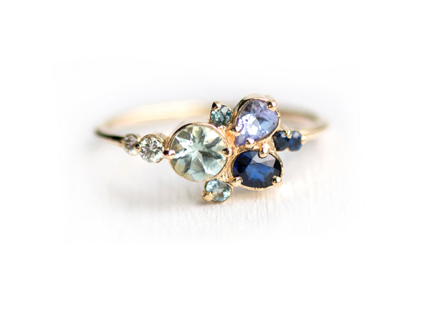 Clear Water Blue Gemstone Cluster Ring