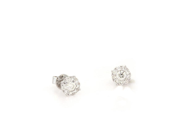 Pave Diamond Cluster Stud Earrings