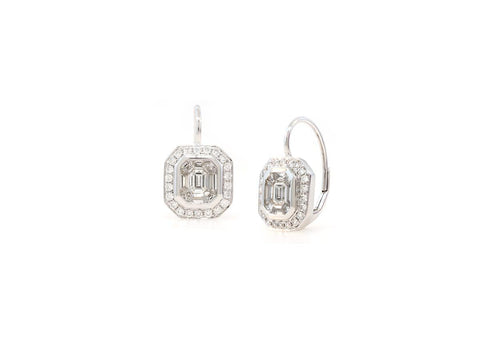 1.57ct Invisible Set Baguette Asscher Diamond Earrings