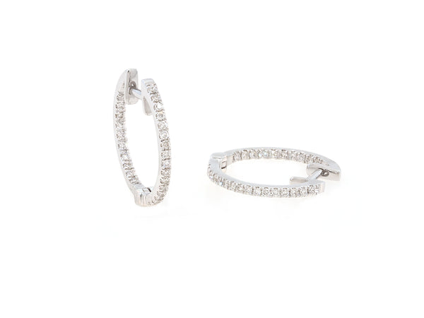 Small Pave Diamond White Gold Hoop Earrings
