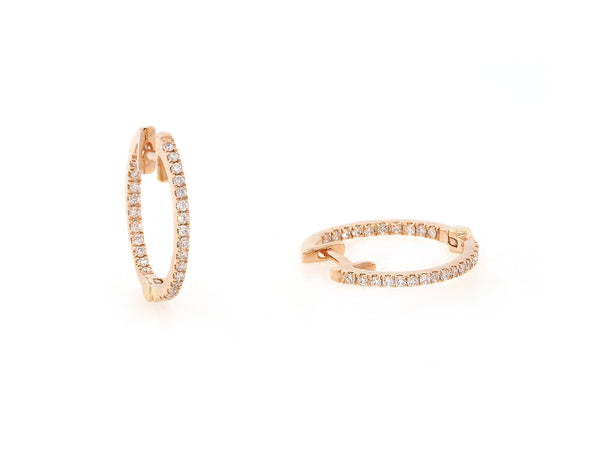 Small Pave Diamond Rose Gold Hoop Earrings