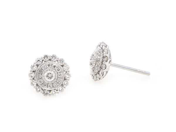 Diamond Flower Cluster Earrings