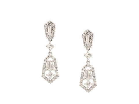 Antique Inspired Diamond Drop Earrings