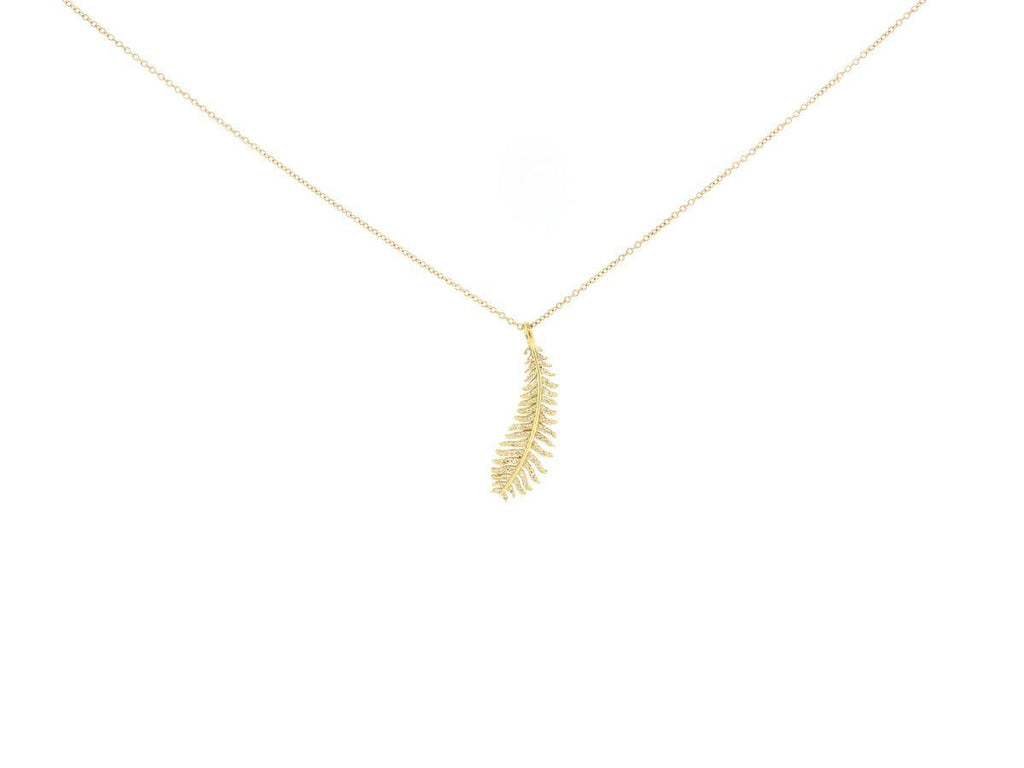Gold Diamond Feather Necklace