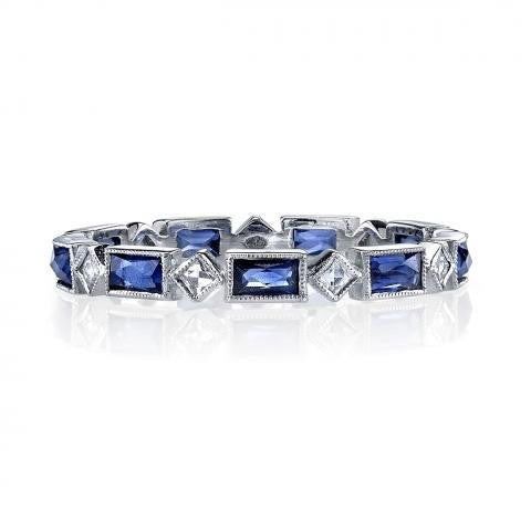 'Madeline' Platinum Sapphire and Diamond Eternity Band