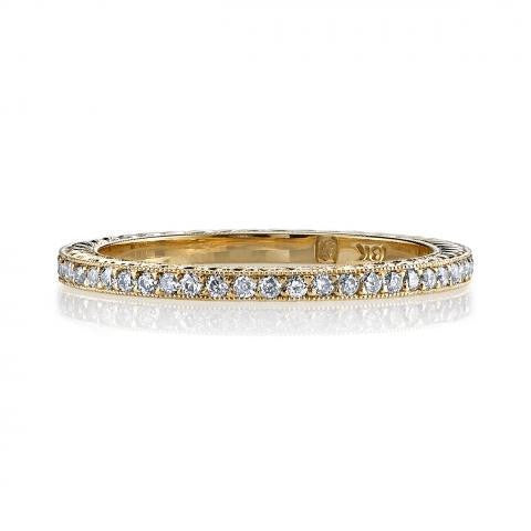 'Molly' Engraved Yellow Gold Pave Eternity Band