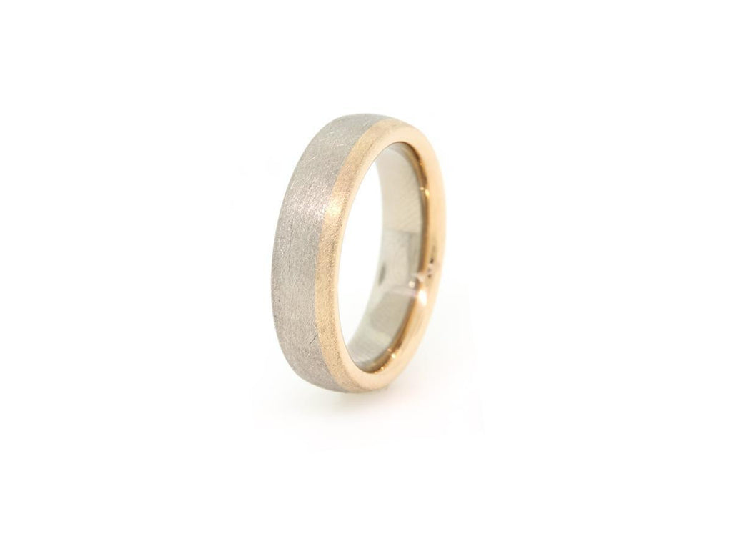 Men's Textured 18k Grey and Rose Gold Band