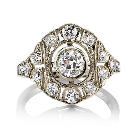 0.41ct Deco Inspired Old European Cut Diamond Renee Ring