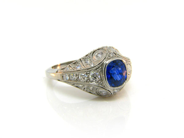 1.48ct Ceylon Cushion Cut Sapphire and Diamond Antique Inspired Ring