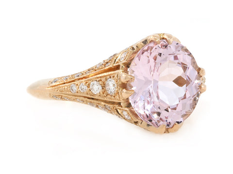 2.30ct Oval Morganite and Diamond Antique Inspired Ring