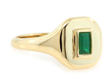 Emerald Gold Signet Ring