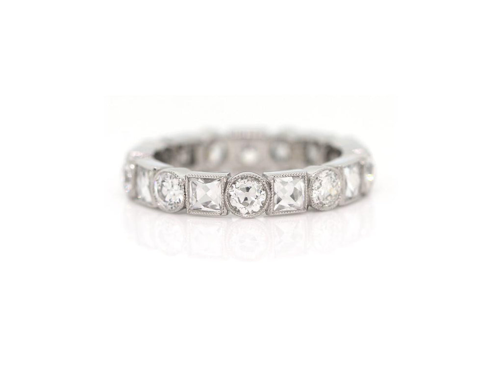 Old European and French Cut Diamond Eternity Band