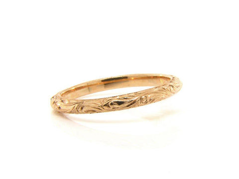 'Natalie' Half Round Engraved Wedding Band