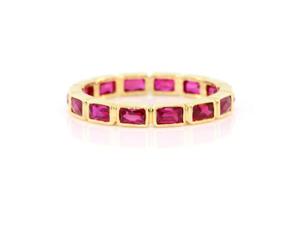 French Baguette Ruby Eternity Band